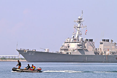 USS Fitzgerald in brief call at Subic port