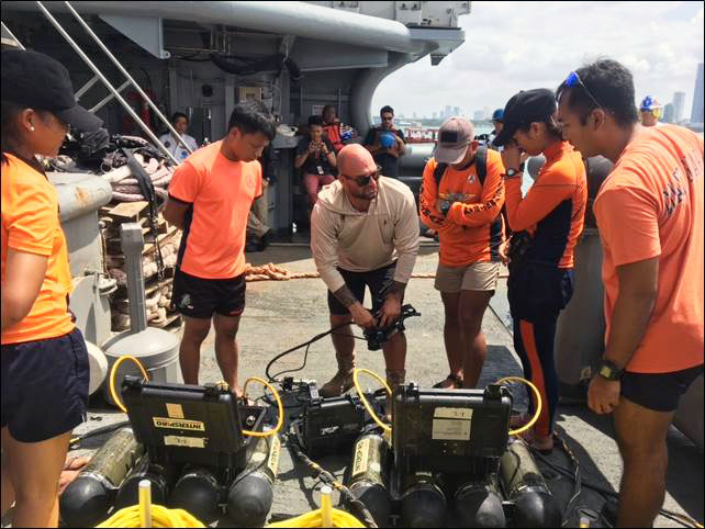U.S. and Filipino Divers Practice Diving and Salvage Techniques on Shipwreck