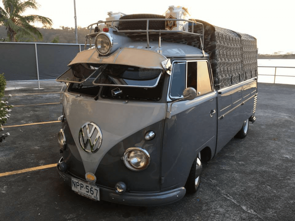 The T1 Volkswagen Type 2 with its canopy installed